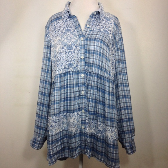 Style /& Co NWT Blue Shirt Top Blouse NEW  Womens Size Large